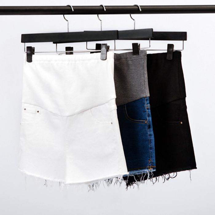 妊婦服春夏韓国ファッションホットパンツ下腹デニム妊婦ショーツ白の外に大きいサイズのズボンを穿きます。