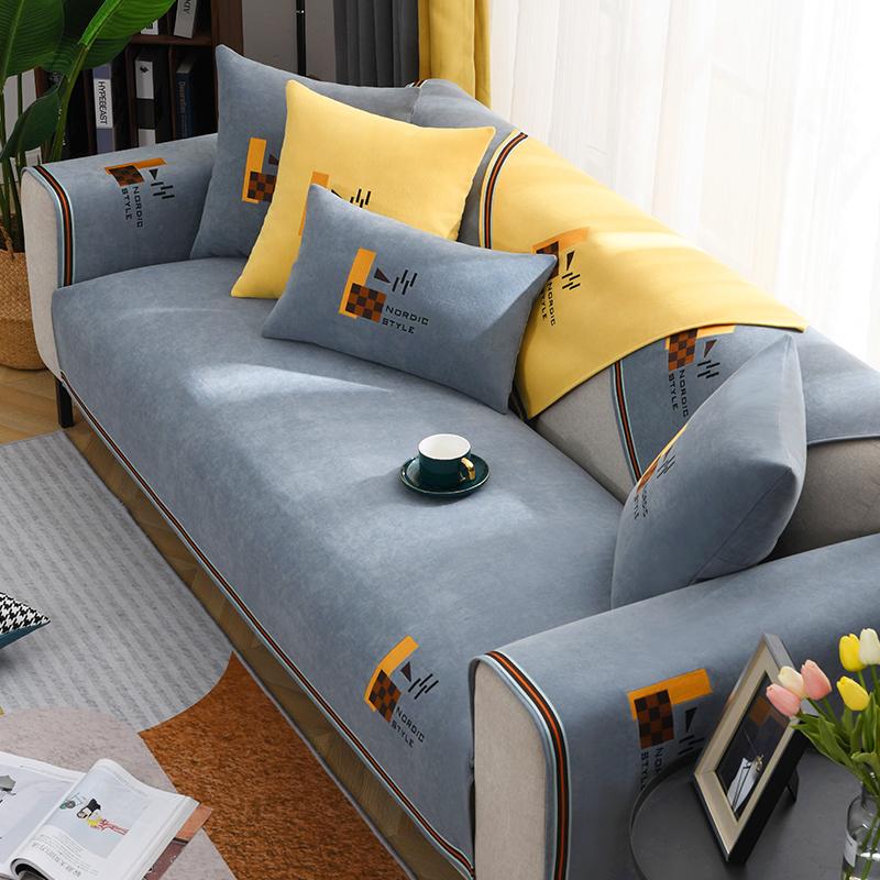雪尼尔沙发垫子四季通用防滑简约现代套罩皮坐垫大小全盖布靠背巾