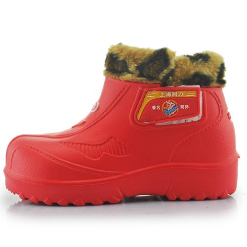 回力親子雨靴短筒雨鞋加絨保暖魔術貼雪地靴防滑耐磨輕便靴子