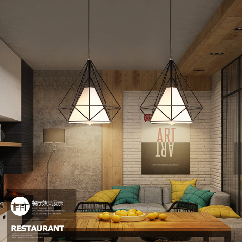 简欧工业风钻石鸟笼小吊灯几何loft创意个性餐厅复古铁艺灯具套餐