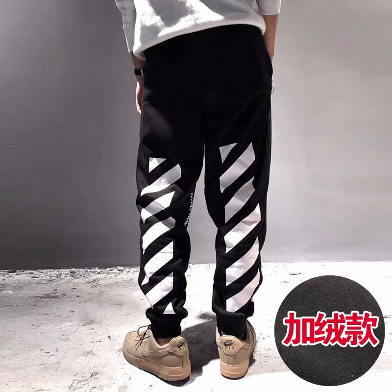 New off mens casual pants white plush printed sportswear ow corset pants