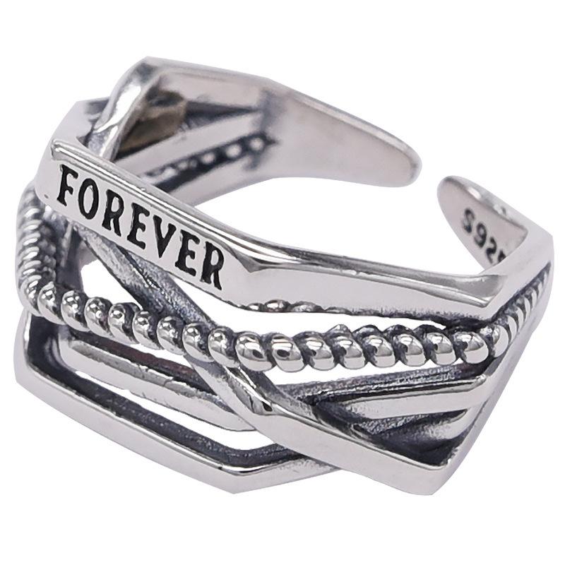 Retro multi-layer winding diamond ring female Korean personalized twist letter ring small fresh opening ring