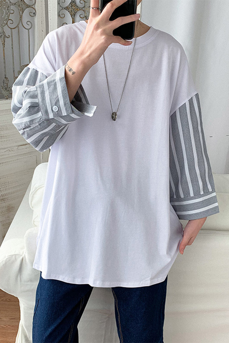 Stitching long sleeve T-shirt fake two mens loose style bottoming shirt students spring personalized fashion casual T-shirt