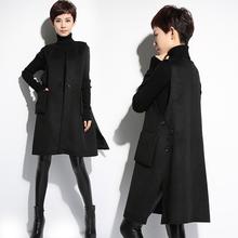 春秋冬季羊毛呢子马甲女士中长款大码宽松无袖背心韩版外套坎肩