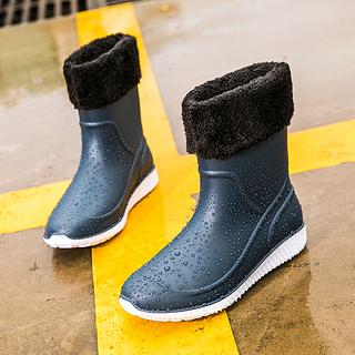 Резиновые сапоги,  Зима мужской сапоги трубка скольжение мода сапоги кухня работа обувной мужчина мойка теплый вода обувной рыбалка клей обувной, цена 365 руб