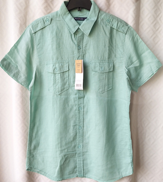 Domestic first-line brand fit casual mens Short Sleeve Shirt comfortable A100 cotton hemp summer linen turned collar tooling