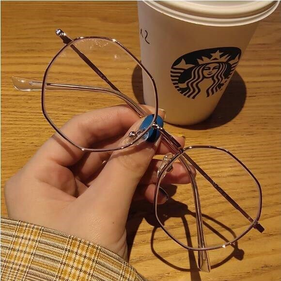 Korean version of tide myopia glasses for women can be equipped with degree astigmatism round face frameless diamond trimming eye frame net red
