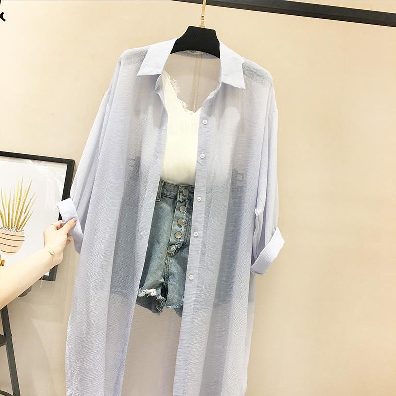 防晒衣女夏中长款雪纺防紫外线2018新款韩版长袖薄款白色开衫外套