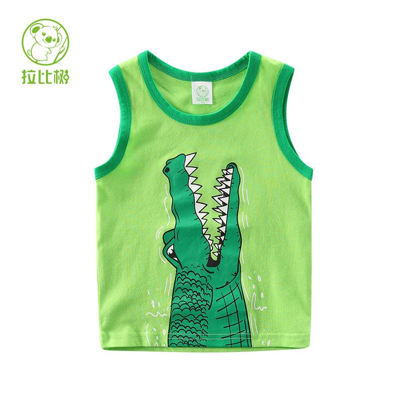 拉比樹 新品 男童鱷魚背心 兒童純色汗衫 男寶寶無袖t恤2017夏