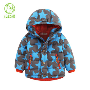 拉比树童装冬装新款 男孩宝宝五角星棉衣 小童婴幼儿连帽上衣