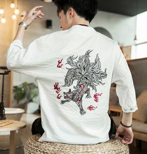 中國風短袖t恤涼快漢服山海經系列九尾狐刺繡男裝古裝超仙冰絲 夏