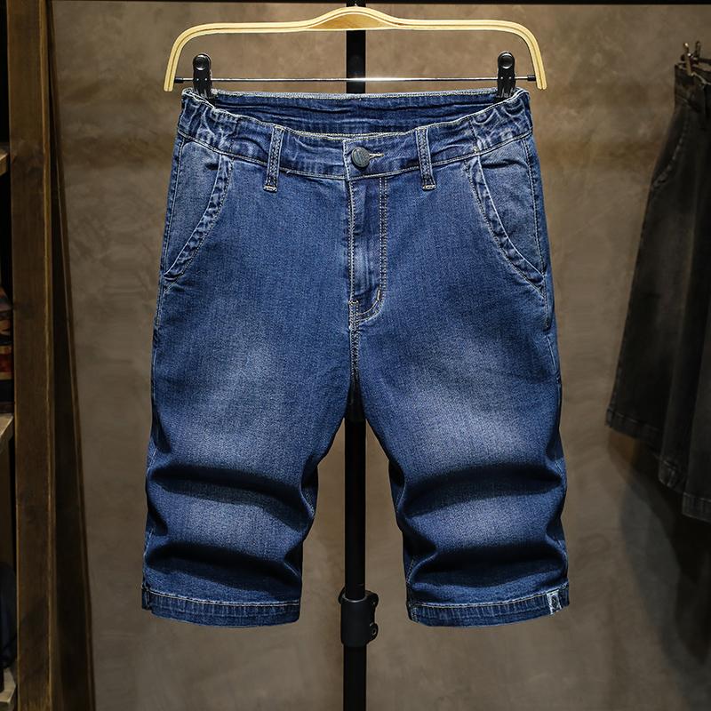 男装夏季直筒加肥加大码修身收脚休闲牛仔短裤男式超高弹力五分裤