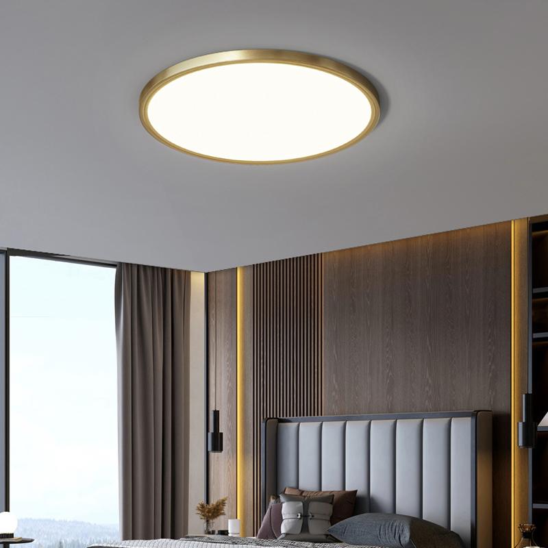 圆形书房吸顶灯现代简约阳台走廊房间北欧卧室灯超薄led极简全铜