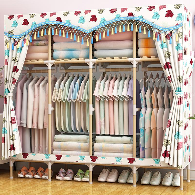 实木组装收纳衣柜简易布衣柜现代简约推拉门儿童单人衣橱布艺柜子