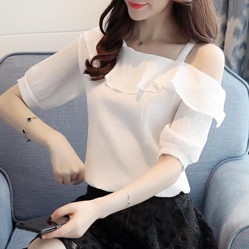 京东购物商城官网蘑菇街2018新款春装女装夏装露肩短袖时尚雪纺衫