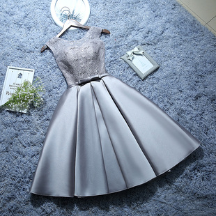 Bridesmaid dress short paragraph the word shoulder Korean 2016 new spring and summer birthday party dress sister group chaired dresses