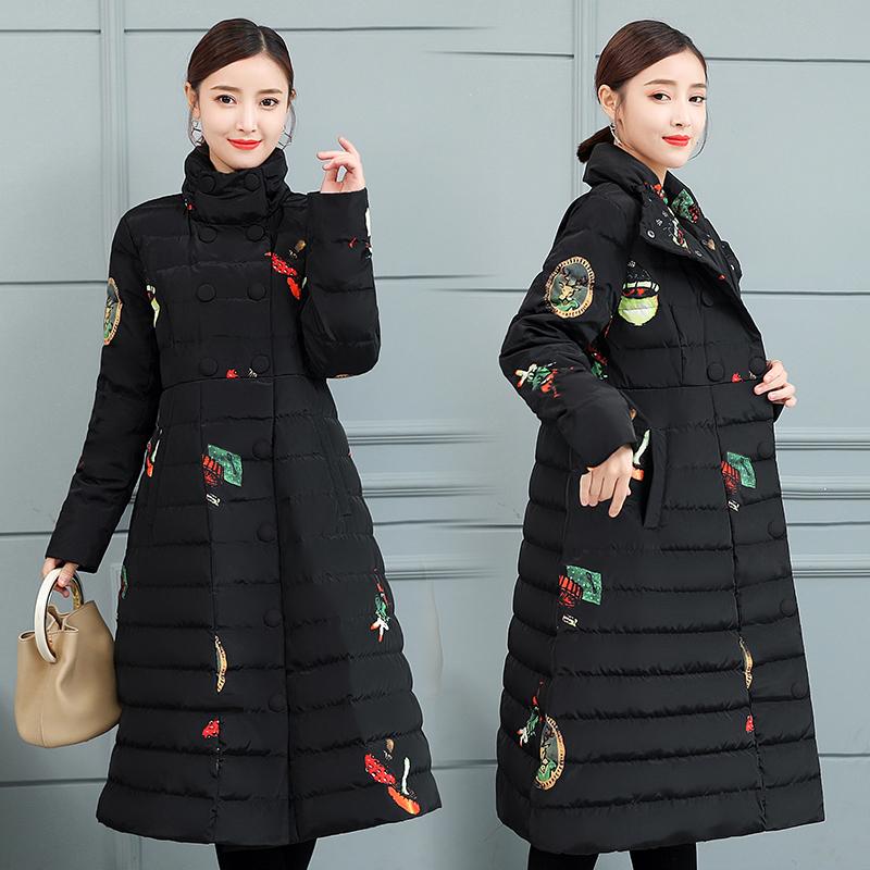 中长款复古印花羽绒服女2018新款冬装中国风立领修身加厚过膝外套