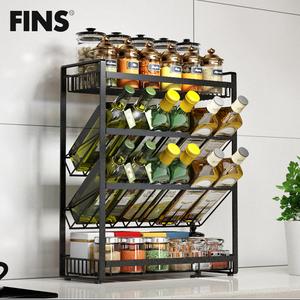 不锈钢厨房调味品置物架台面壁挂收纳用品调味瓶斜放式调料架子