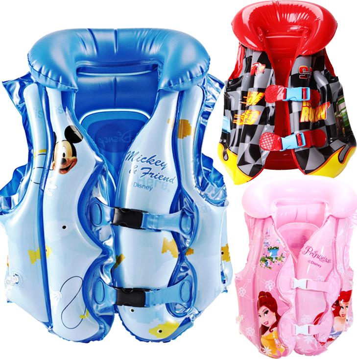 包郵 迪士尼兒童遊泳背心男女童 幼兒寶寶充氣救生衣初學遊泳圈