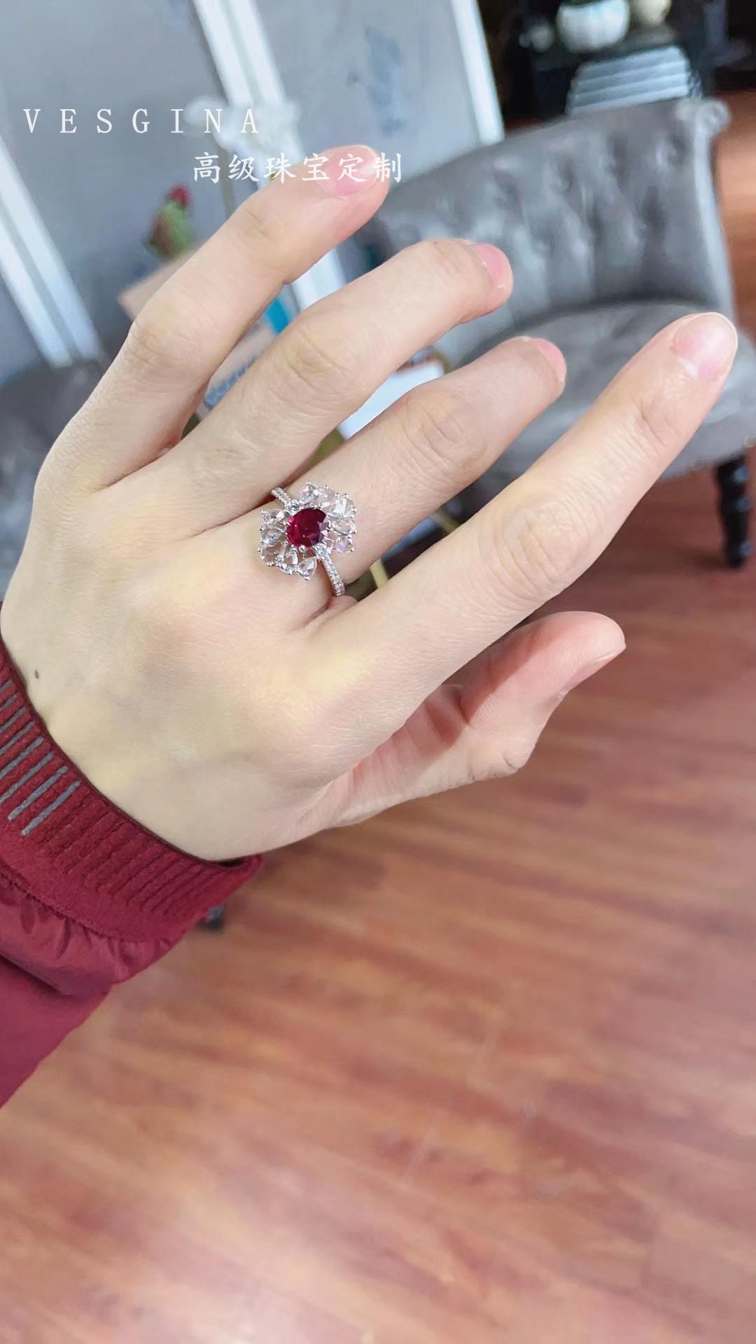 现货!18k白金 1.01克拉 vivid red 无烧鸽子血 红宝石戒指