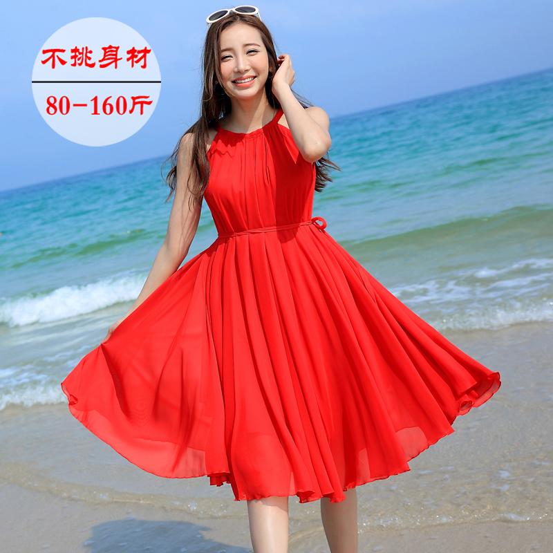2018新款泰国度假沙滩裙雪纺吊带连衣裙大码宽松显瘦红色中长款仙