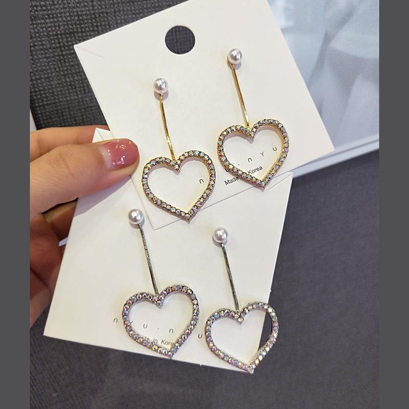 Korean love long Tassel Earrings heart shaped peach Earrings popular womens Earrings temperament Pearl Earrings
