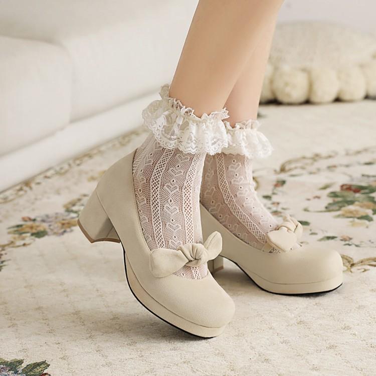 绒面lolita鞋日系洛丽塔复古可爱学生公主蝴蝶结百搭厚底高跟女鞋