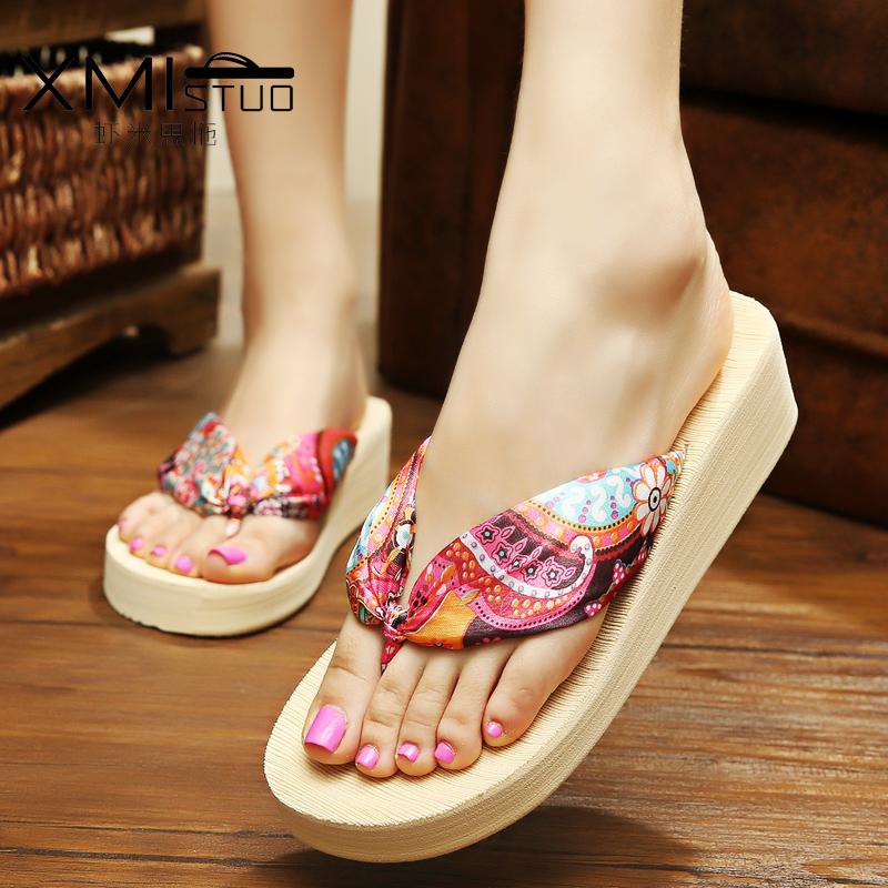 夏季時尚韓版夾腳簡約耐磨人字拖鞋女防滑厚底坡跟度假沙灘涼拖鞋