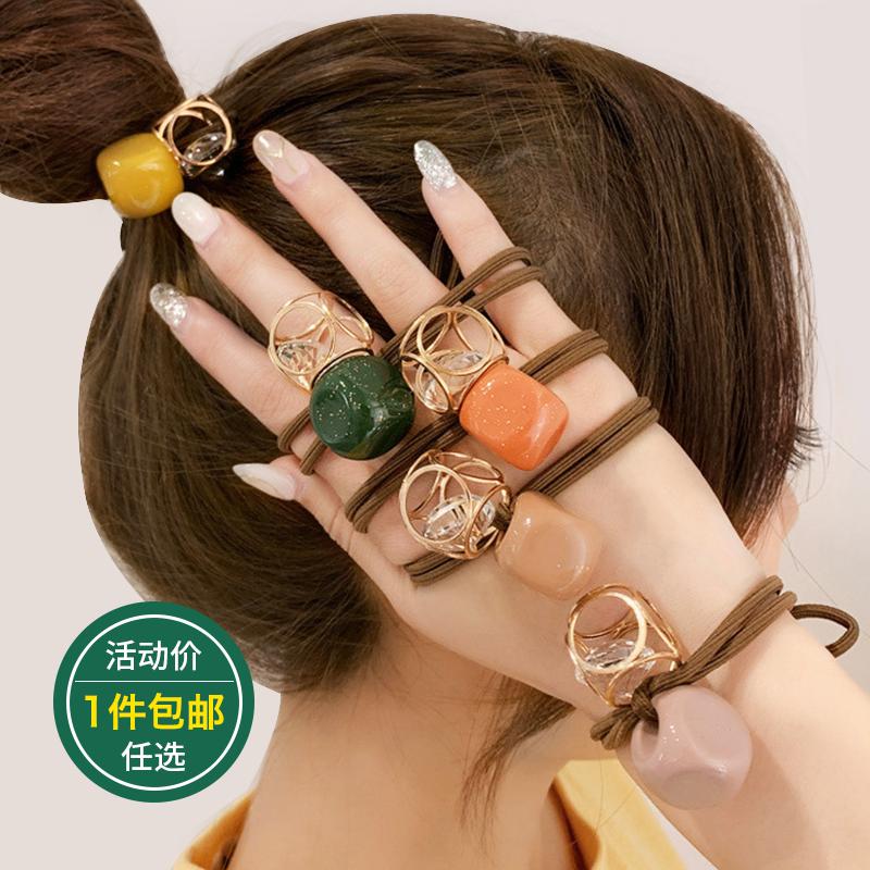 发绳女网红丸子头简约马尾韩国带钻头绳气质发圈皮筋ins扎头发绑