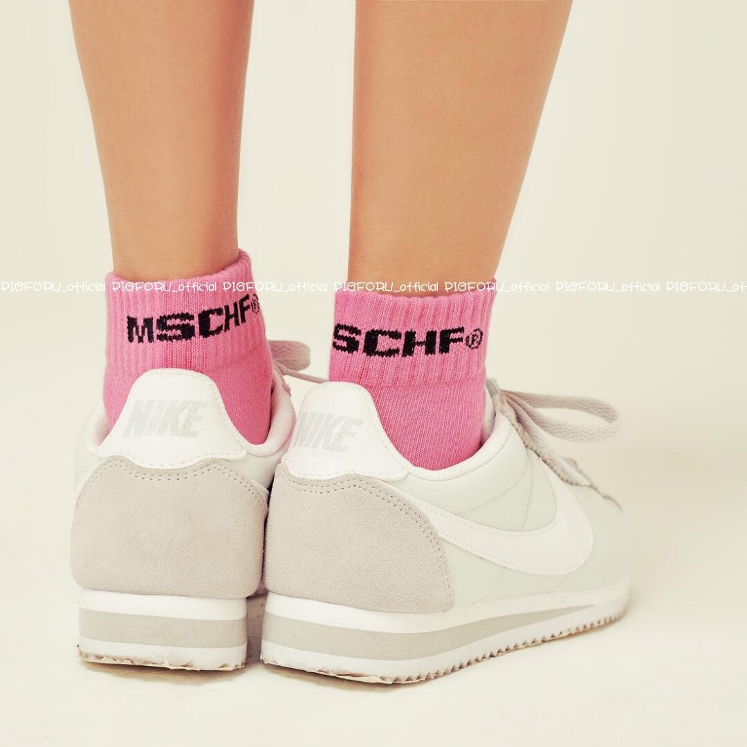(pigforu MADE) Движение девочек MSCHF чистый хлопок Носки LOGO slip панель Спортивные носки