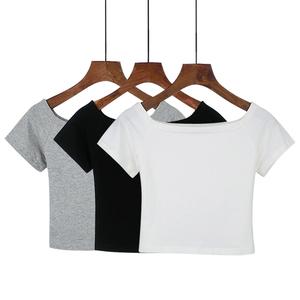 夏季短袖T恤女高腰露脐装短款一字领露肩上衣修身打底衫紧身小衫