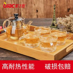 紫丁香加厚耐热玻璃茶壶养生壶不锈钢过滤泡茶壶煮茶壶茶盘套装