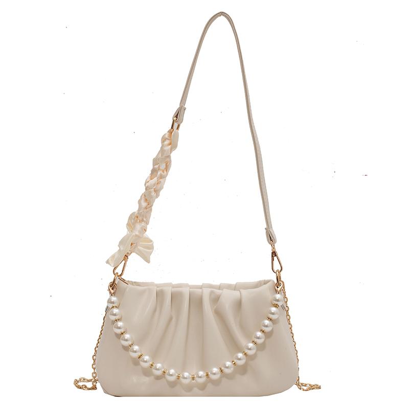 褶皱小包包女夏小众2021新款潮时尚珍珠链条斜挎包百搭云朵腋下包