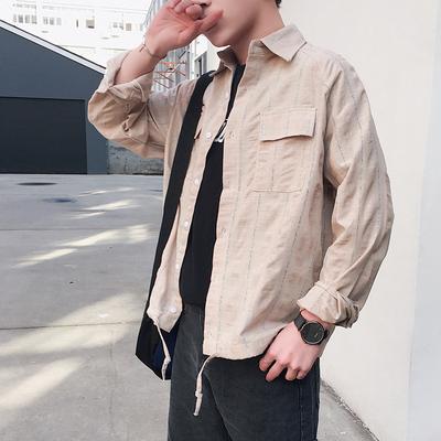 衬衫男长袖韩版帅气条纹衬衫男港风春夏新款衬衣C201/P55