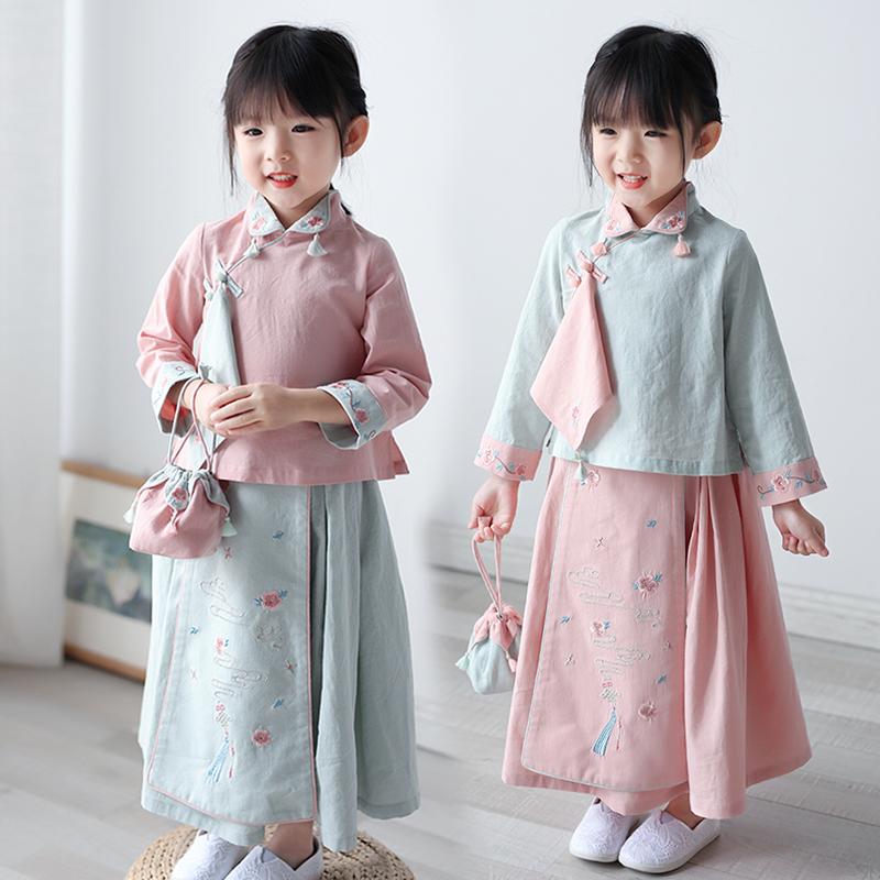 (用5元券)儿童唐装女中国风套装复古童装小女孩春秋装古风改良宝宝汉服女童