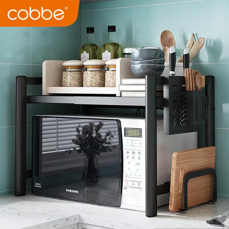 厨房微波炉置物架落地家用2层桌面子橱柜收纳双层伸缩台面烤箱架