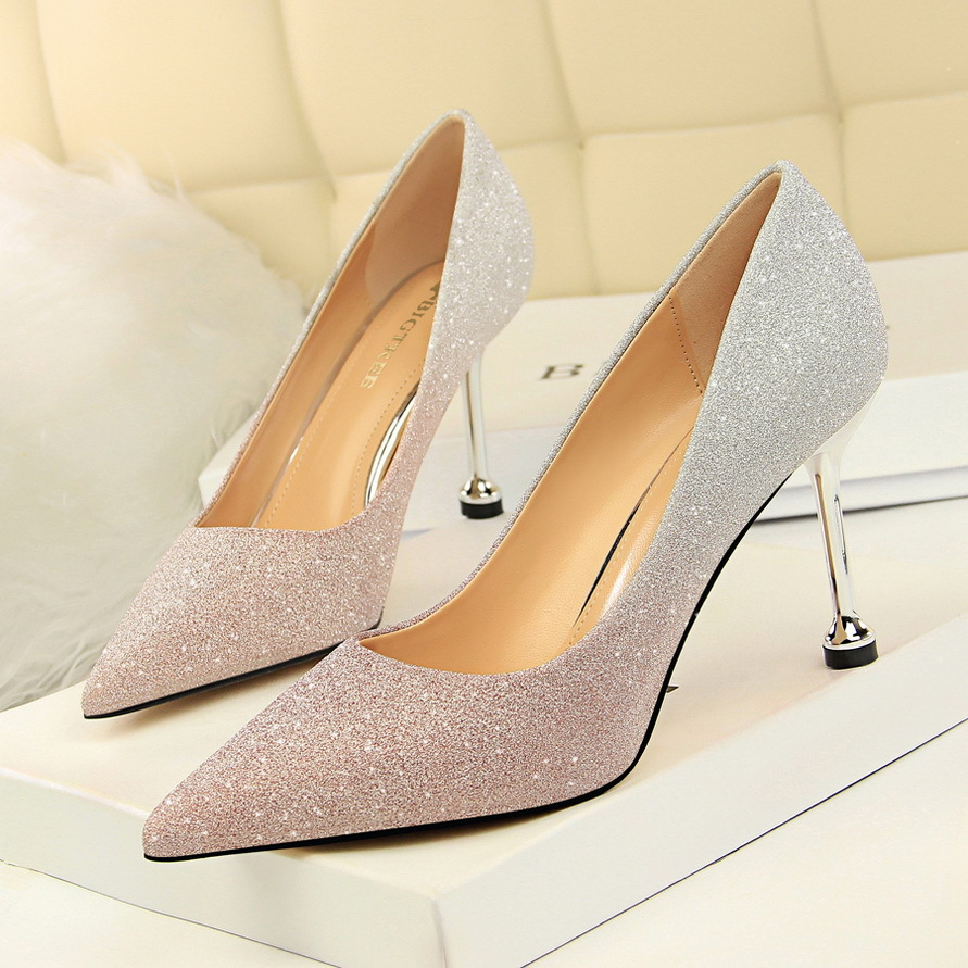 0755-1 Korean fashion thin heel high heel shallow mouth pointed point shiny color gradient color matching single high heel womens shoes