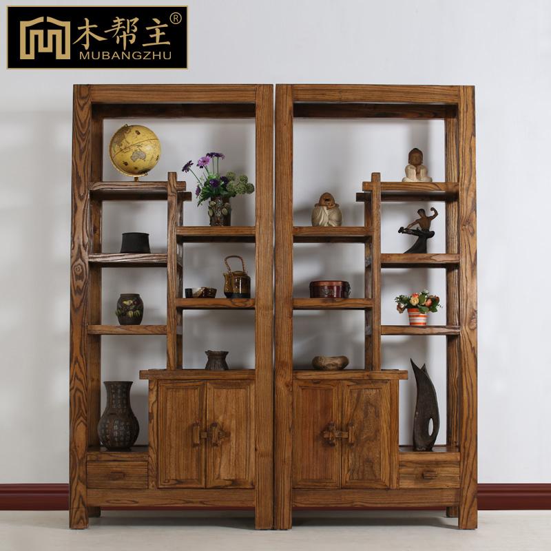 博古架实木中式古董架榆木多宝阁茶叶架仿古隔断酒柜玄关组合柜