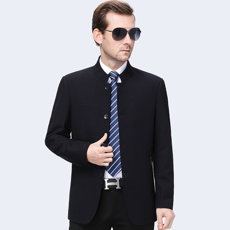 Ouana a spring and autumn mens jacket stand collar solid color boutique fashion casual wool jacket
