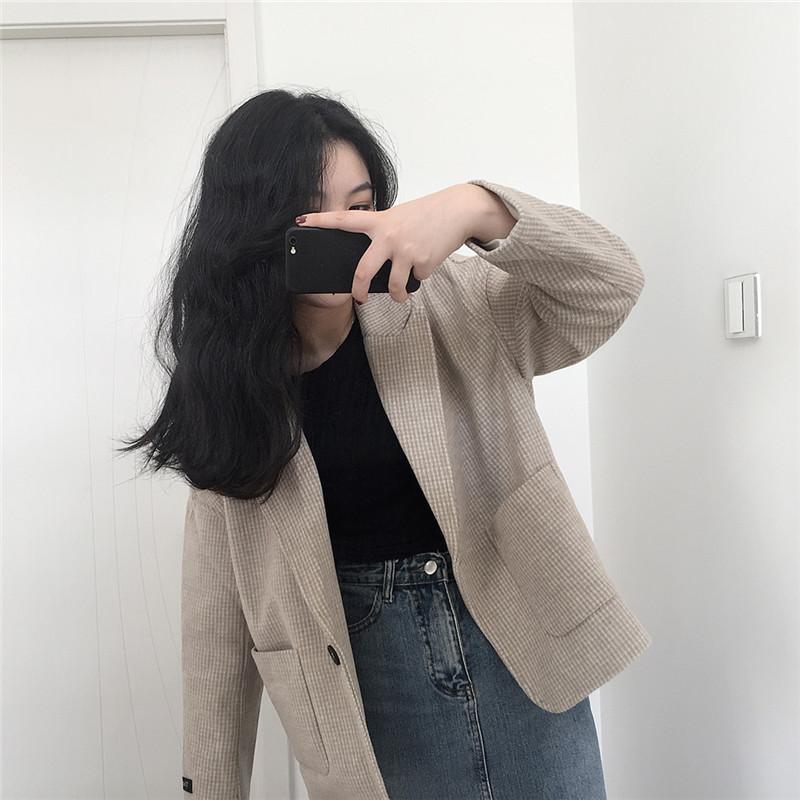 韩国chic2020冬装新品气质百搭小西装休闲宽松格子短款小呢衣外套