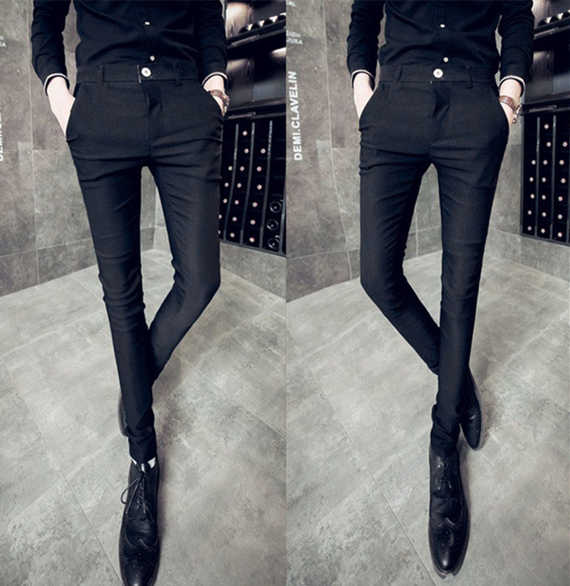 Hairstylist mens pants Korean slim fit British Leggings smooth fabric casual pants elastic trousers Fashion Young Students