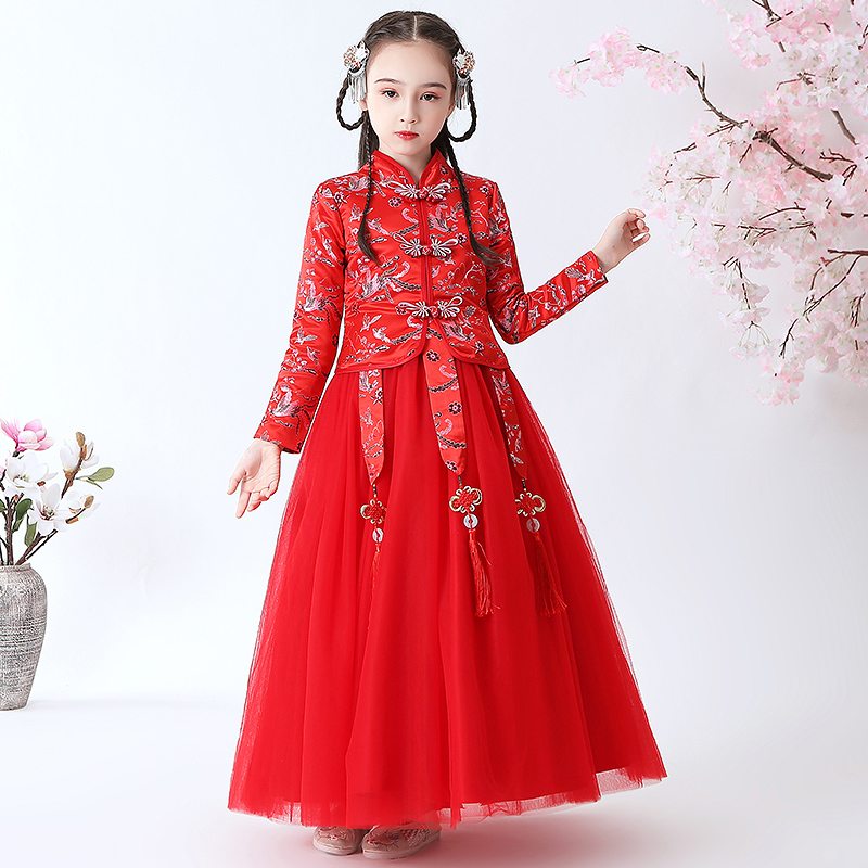 Childrens clothing, Hanfu, girls spring clothing, new spring and autumn ancient clothing, ethnic style, long mesh Plush dress, warm skirt