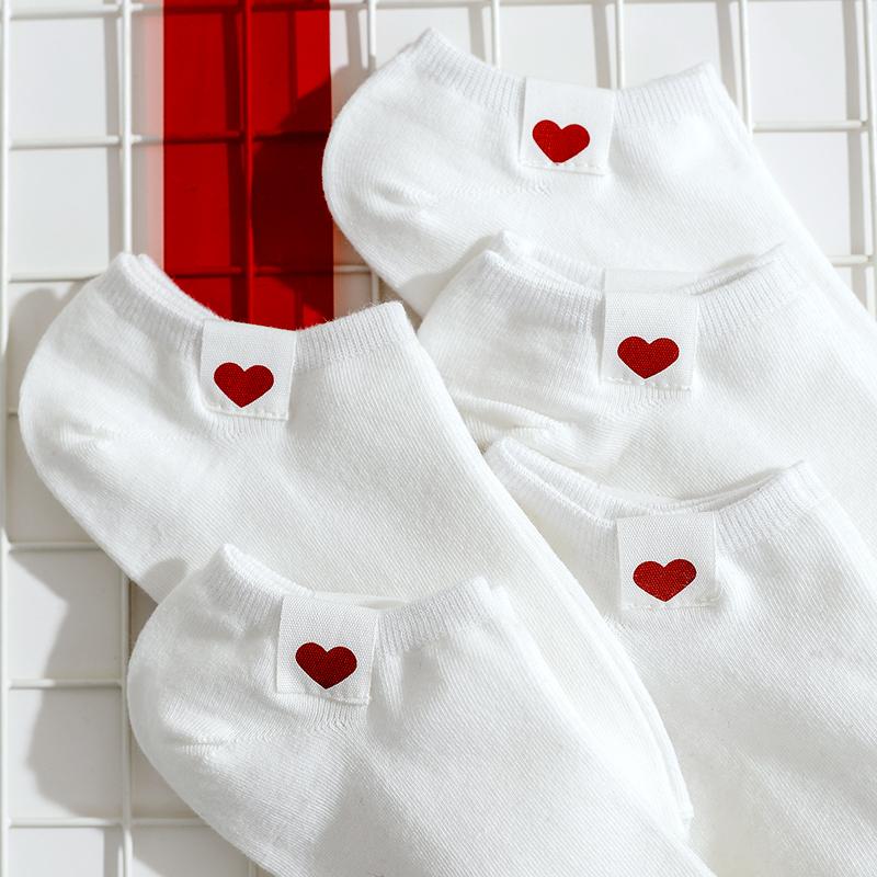 5双爱心袜子女短袜夏季薄款低帮浅口韩国可爱ins潮隐形袜纯棉船袜