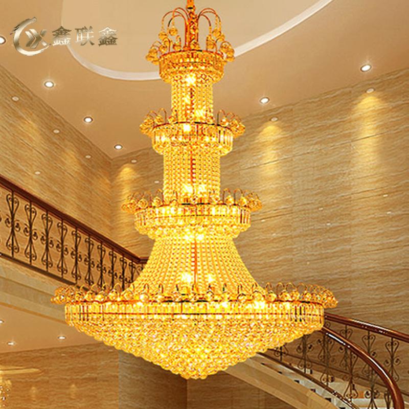 金色复式楼客厅大吊灯长豪华酒店大堂中空欧式楼中楼别墅水晶灯具