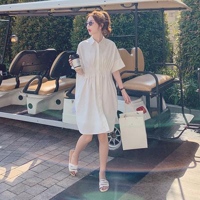 初恋白色连衣裙女甜美2020夏季新款法式收腰显瘦气质中长款衬衫裙