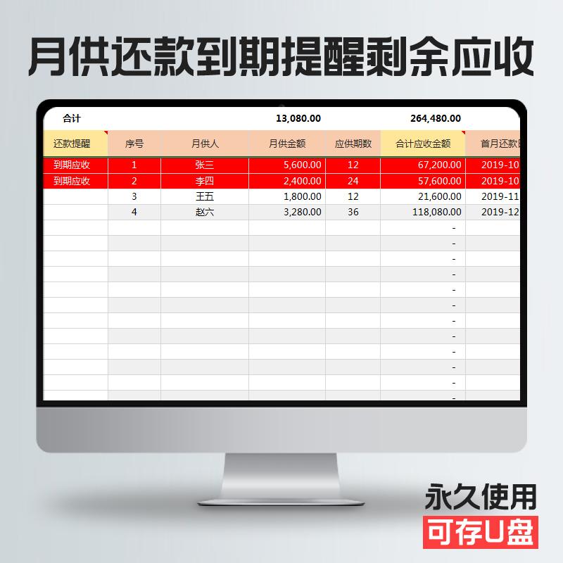 多客户按月收款月供汇总还款日期到期提醒已收应收统计Excel模板