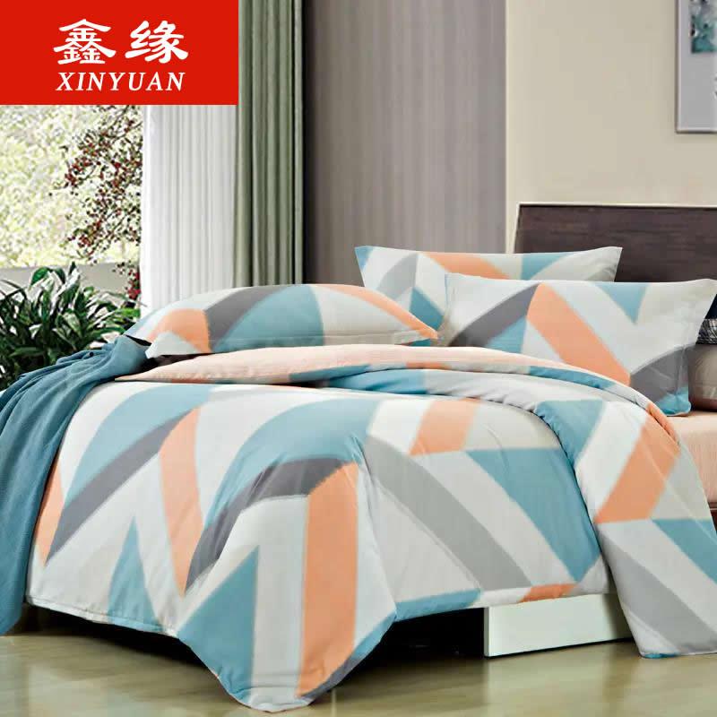 鑫缘全棉印花四件套纯棉床单被套简约北欧床上用品春秋套件
