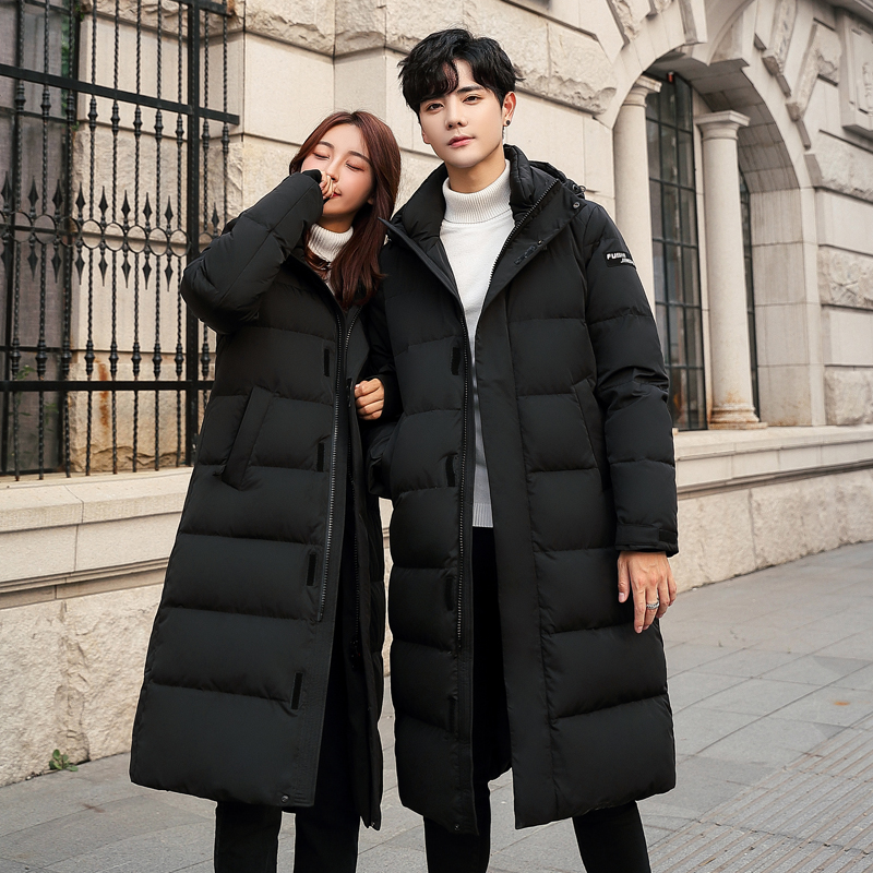 Mens sports and leisure new winter clothes lengthen knee length Korean version slim and thickened down clothes couple cold proof coat tide