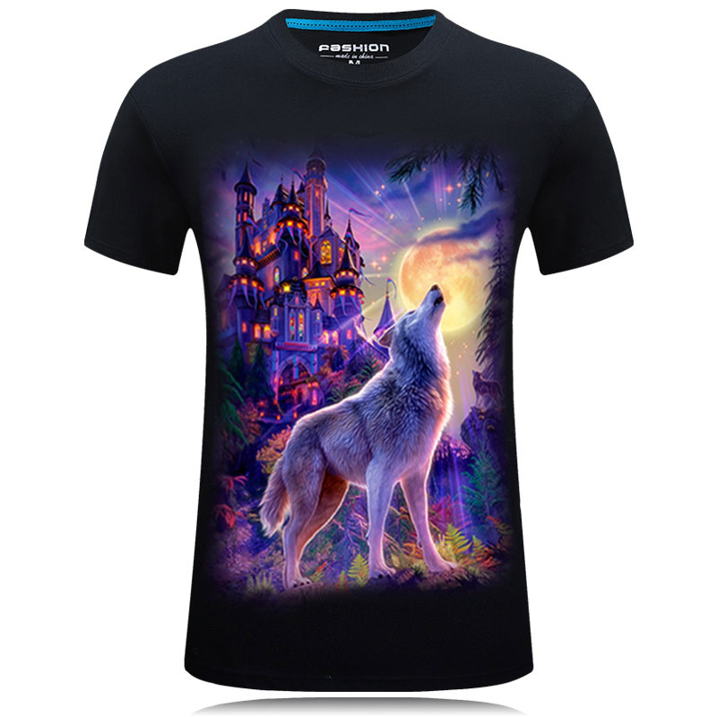 Short sleeve t-shirt mens 2021 summer European and American street 3D wolf pattern printing loose large student round neck clothes
