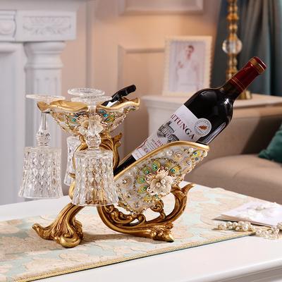 欧式红酒架摆件客厅奢华酒柜装饰品高脚酒杯架美式家用葡萄酒瓶架